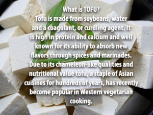 What is TOFU? Tofu is made from soybeans, water and a coagulant, or curdling agent. It is high in protein and calcium and well known for its ability to absorb new flavors through spices and marinades. Due to its chameleon-like qualities and nutritional value tofu, a staple of Asian cuisines for hundreds of years, has recently become popular in Western vegetarian cooking.